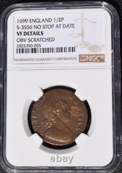 1699 Great Britain 1/2 Penny, England, NGC VF Details Scratch, S-3556