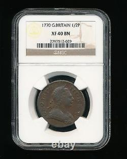 1770 Great Britain 1/2 Penny NGC XF 40 Brown (BN) Half Penny