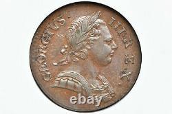 1772 Great Britain 1/2 Penny King George III KM#601 NGC AU-55 BN
