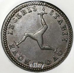 1786 NGC AU 53 Isle of Man Penny George III Great Britain Coin (20042301C)