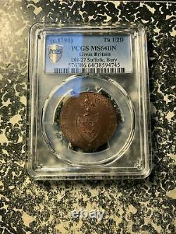 (1790) Great Britain Conder Token 1/2 Penny PCGS MS64 BN Lot#G912 DH-27 Suffolk