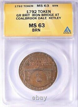 1792 Great Britain Half Penny Token Iron Bridge at Coalbrook Dale Ketley ANACS