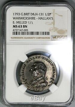 1793 NGC MS 63 Hallan's Conder 1/2 Penny Glass Warwickshire DH 131 (19082002C)