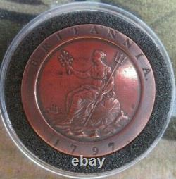 1797 CARTWHEEL 2 PENNY COIN KING GEORGE I SOHO MINT WITH CAPSULE Cc4