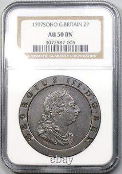1797 NGC AU 50 George III 2 Pence Cartwheel Soho Great Britain Coin (19012905C)