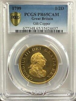 1799 Great Britain Proof Half Penny PCGS PR65CAM Rare Top Population Rare coin