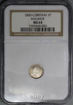 1800 MS 64 George III Maundy Penny Great Britain Silver Coin (18110404C)