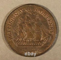 1812 Great Britain Nelson Naval Half Penny Token Nice FREE U. S SHIPPING