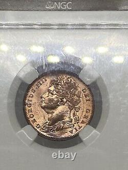 1825 Great Britain 1/4 P Pence Farthing Copper Coin Ms-65-rd Very Rare