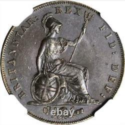 1826 Great Britain 1/2 Penny, NGC MS 63, KM # 692, Half