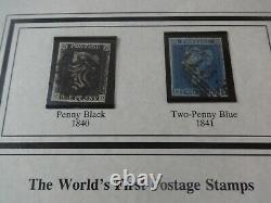 1840 1d PENNY BLACK + 1841 2d PENNY BLUE STAMPS FOLDER COA WORLDS MOST FAMOUS