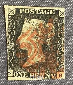 1840 1d Penny Black Red Maltese Cross