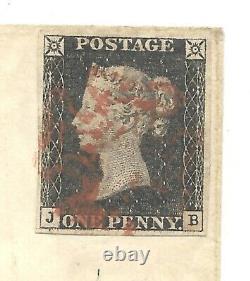 1840 BRITISH PENNY BLACK, AUG. 19, JB plate, with crisp light red MX