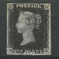 1840 GB QV 1d PENNY BLACK PLATE 6, HG, 4M, MINT WITH FULL GUM