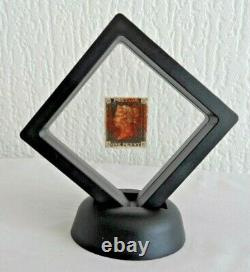 1840 GB QV 1d Penny Intense Black SG1 Plate 1B Red MX (AH) in 3d Floating stand