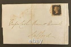 1840 October Penny Black on Cover London to Salford with Red Maltese Cover