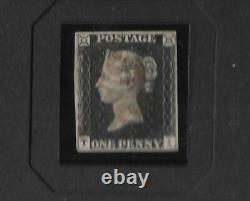 1840 PENNY BLACK STAMP PLATE 4 /Ti WITH LIGHT CANCELLATION