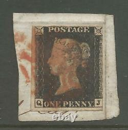 1840 PENNY BLACK (qj) USED ON PIECE CANCELLED BY RED CROSS SEE SCANS