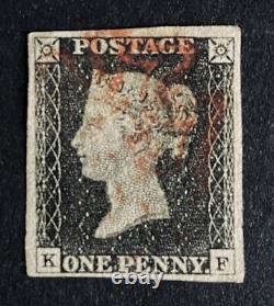 1840 Penny Black''KF'' Red MX Lovely 4 Large Margined Stamp