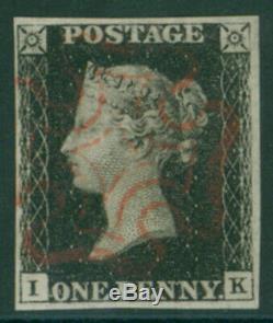 1840 Penny Black Plate 5 IK (four good margins)
