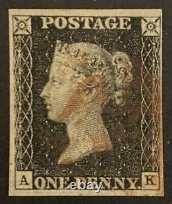 1840 Penny Black Red MX, Plate 7, 4 Margins Lettering AK