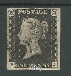 1840 Penny Black (pj) Plate 2 Fine Used 4 Large Margins Lovely Stamp