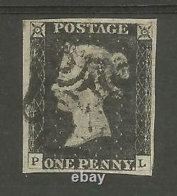 1840 Penny Black (pl) Plate 2 Fine Used 4 Large Margins Lovely Stamp
