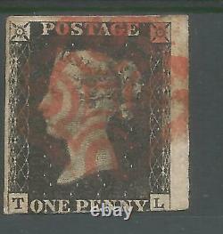 1840 Penny Black (tl) 3 Large Margins Lovely Stamp See Scans