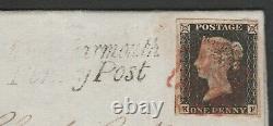 1840 SG2 1d BLACK PLATE 2 MONKWEARMOUTH PENNY POST TO HARTLEPOOL (KF)