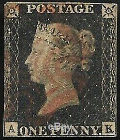 1840 SG2 1d Penny Black 3 Margins Plate 10 Rare Red MX Very Fine Used CV £1500