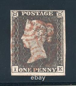1840 penny black Sg 2 plate 1a (I K) 4 margins & light red Maltese cross pmk