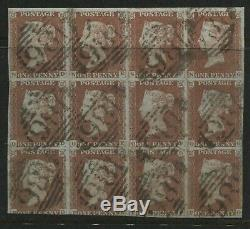 1841 Penny Red Plate 66 used block of 12 ND-PG all struck by Dublin 186 diamonds