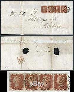 1841 Penny Red (SE/SH) Plate 37 STRIP on Cover DUBLIN Maltese Cross