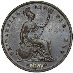 1848 Penny (8 Over 7) Victoria British Copper Coin Very Nice