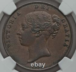 1854 Victoria Penny NGC AU50 BN Ornamental Trident Great Britain