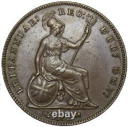 1857 Penny (pt) Victoria British Copper Coin V Nice