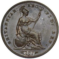 1858 Penny (8 Over) Victoria British Copper Coin Very Nice