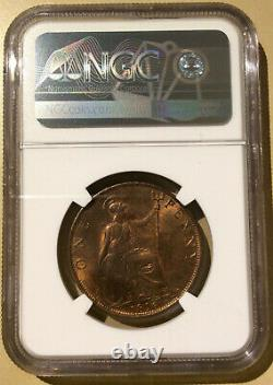 1896 GREAT BRITAIN ONE PENNY NGC MS 64 RB BRONZE 14 in HIGHER GRADES