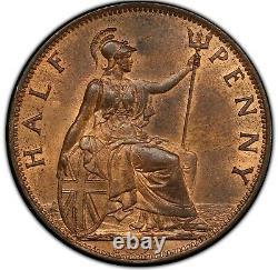 1897 Great Britain 1/2 Penny High Sea PCGS MS-64 RB Die Break