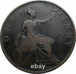 1900 UK Great Britain United Kingdom QUEEN VICTORIA Genuine Penny Coin i80271