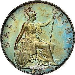 1901 Great Britain 1/2 Half Penny Ngc Ms62bn Bu Color Toned Gem Unc (dr)
