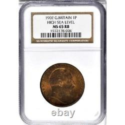 1902 Great Britain 1 Penny, NGC MS 65 RB, Red Brown, High Tide