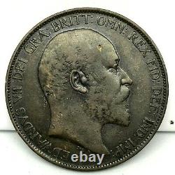 1902 Great Britain- Edward VII One Penny Bronze Coin- Km# 794.1