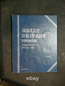 1902 TO 1929 Great Britain Large One Penny Book 28 1P Coins IN WHITMAN ALBUM