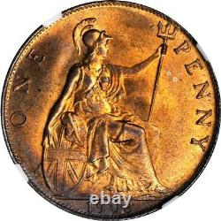 1903 Great Britain 1 Penny, NGC MS 65 RB, Red Brown
