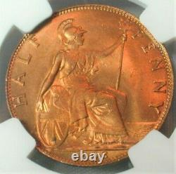 1903 Great Britain Half Penny NGC MS 66 RD Finest Known Top Population (#110)