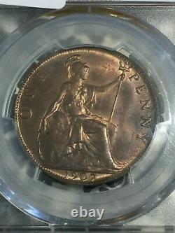 1907 Great Britain 1 Penny PCGS MS63 Red Brown Lot#G321 Choice UNC