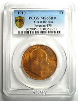 1910 Great Britain Edward VII Penny 1D PCGS MS65 RD (Red BU UNC) Rare Grade