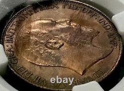1910 Great Britain Half Penny NGC MS64 (Ch. UNC) Only 5 Higher