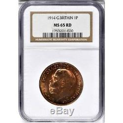 1914 Great Britain 1 Penny, NGC MS 65 RD, Red